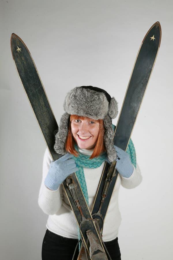 De ski van de vrouw stock foto