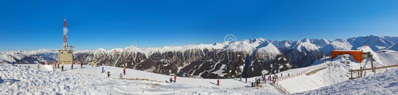 De skitoevlucht van bergen Slechte Gastein - Oostenrijk stock fotografie
