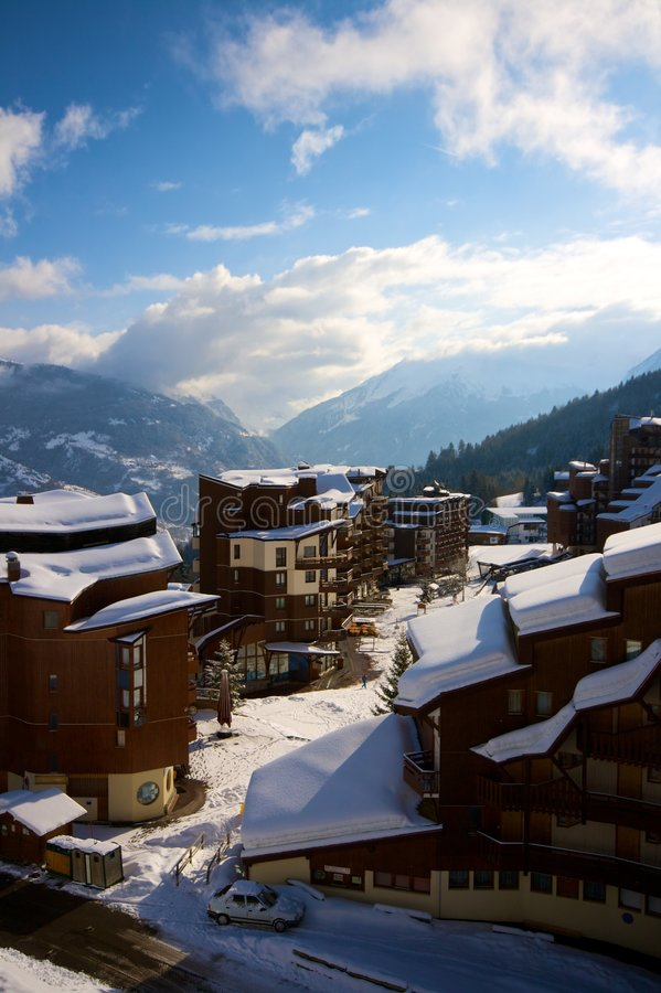 De skitoevlucht van La Tania royalty-vrije stock foto
