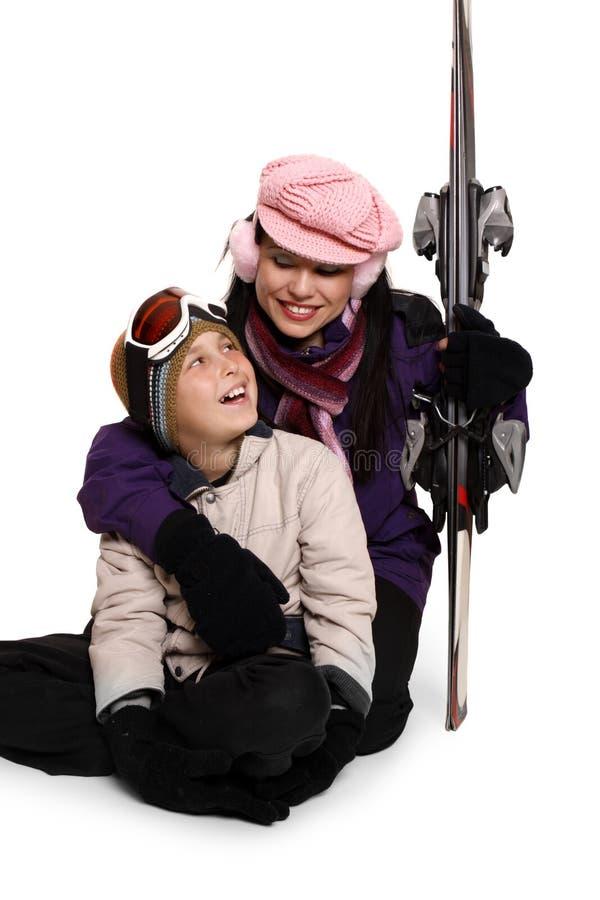 De skivakantie van de familie royalty-vrije stock foto