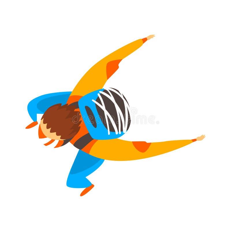 De Skydivermens is in de vrije daling, skydiving, die extreme sport vectorillustratie op een witte achtergrond parachuteren royalty-vrije illustratie