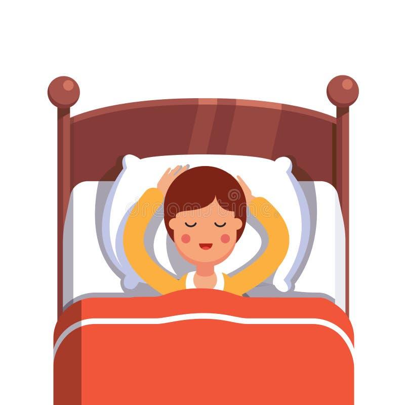 De slaap die van de tienerjongen vreedzaam in haar bed glimlachen stock illustratie