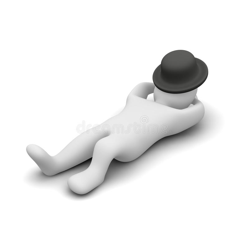 De slaap of het ontspannen van de mens stock illustratie