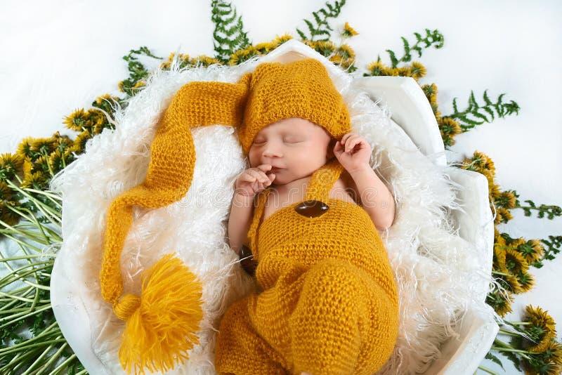 De slaap pasgeboren baby in een mand met gele paardebloem bloeit sering en de groene bladeren, in een gele kleding, plaats voor t stock afbeeldingen