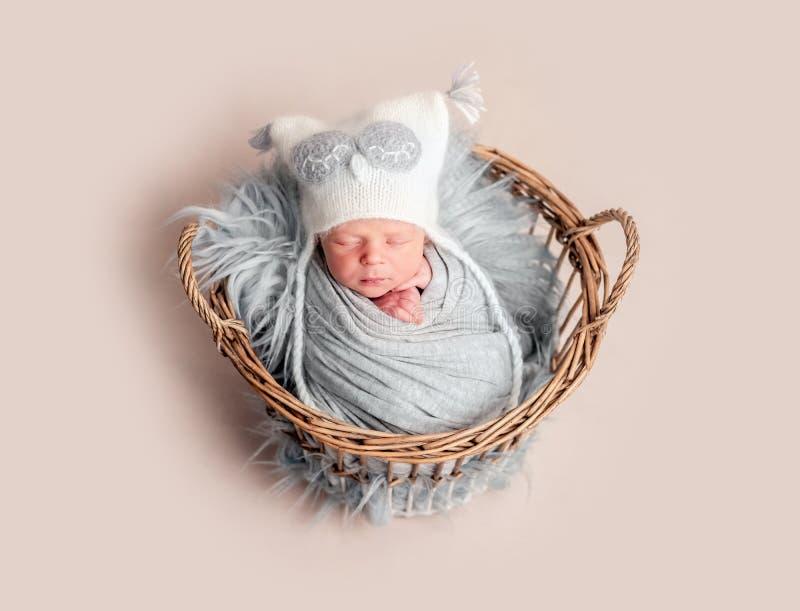 De slaap van de baby in mand royalty-vrije stock afbeeldingen
