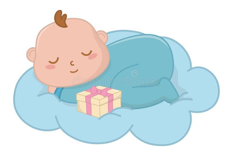 De slaap van de baby op een wolk stock illustratie