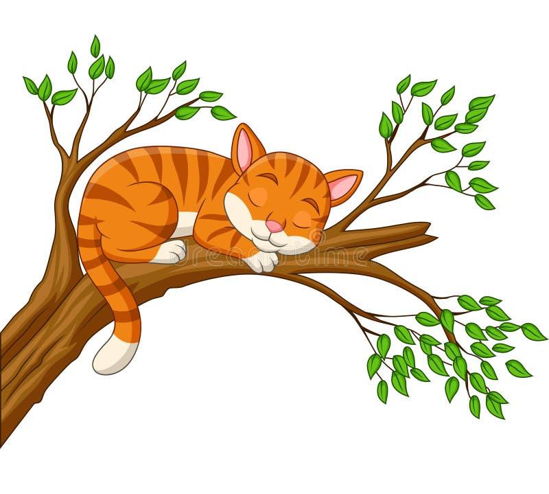 De slaap van de beeldverhaalkat op de tak stock illustratie