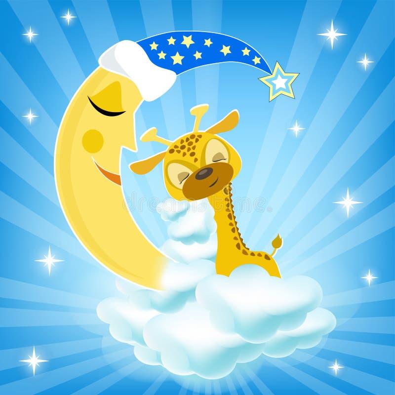 De slaap van de babygiraf op de wolk royalty-vrije illustratie