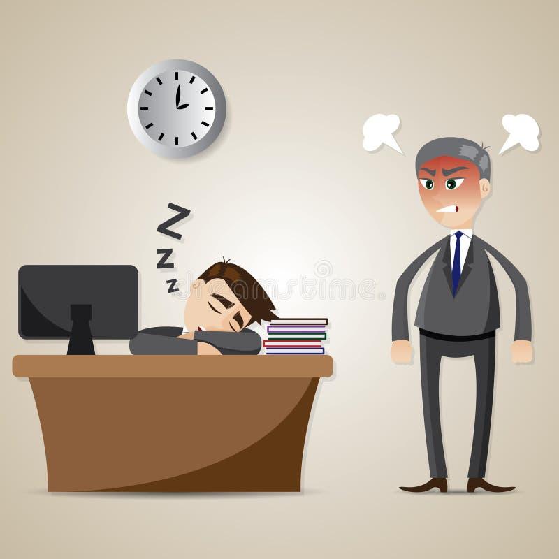 De slaap van de beeldverhaalzakenman en boze werkgever vector illustratie