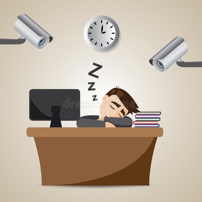 De slaap van de beeldverhaalzakenman in werktijd met kabeltelevisie royalty-vrije illustratie