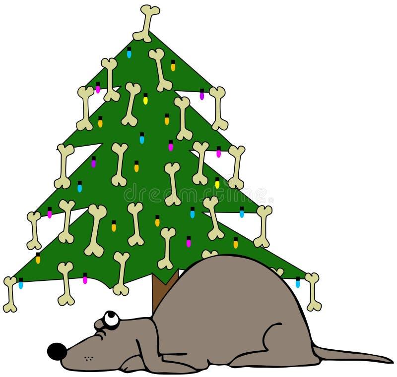 De Slaap van de hond onder een Kerstboom stock illustratie