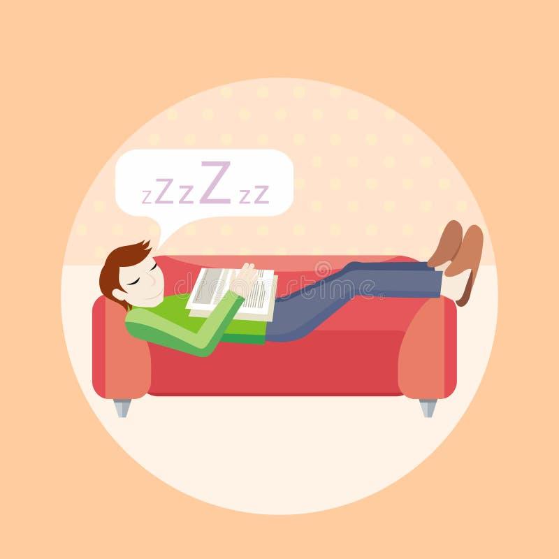 De slaap van de mens op bank vector illustratie