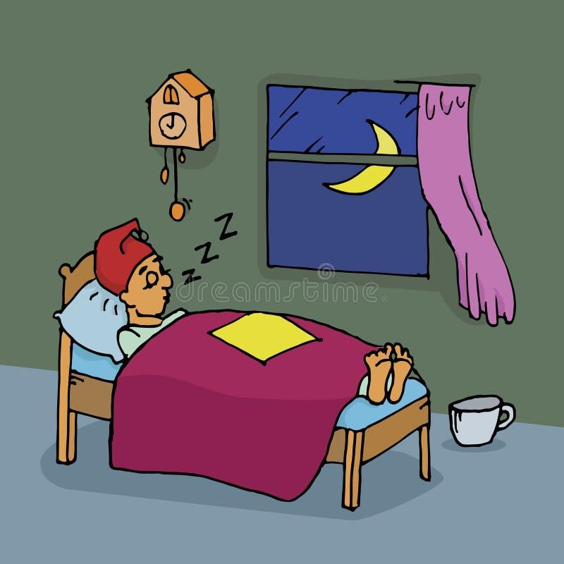 De slaap van de mens thuis royalty-vrije illustratie