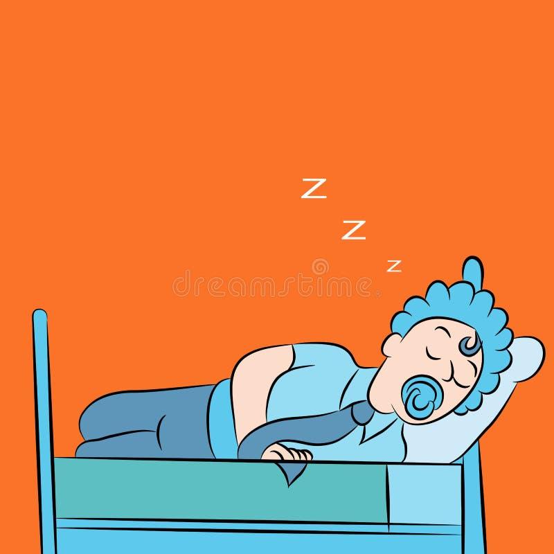 De Slaap van de mens zoals een Baby vector illustratie
