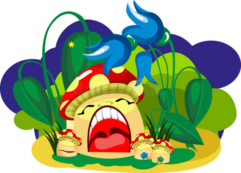 De slaap van de paddestoel vector illustratie