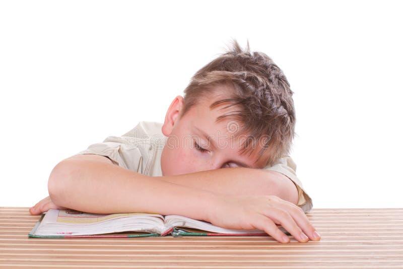 De slaap van de student in klasse royalty-vrije stock fotografie