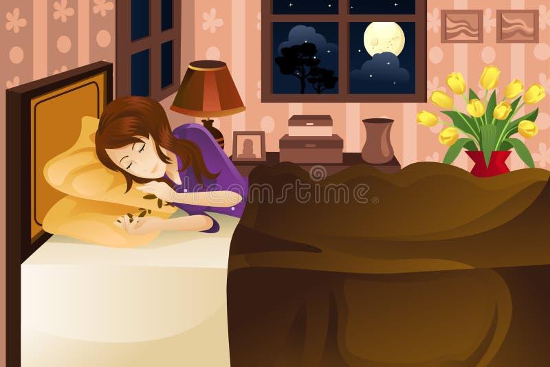 De slaap van de vrouw op bed vector illustratie