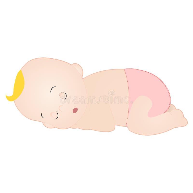 de slaap van het babymeisje royalty-vrije illustratie