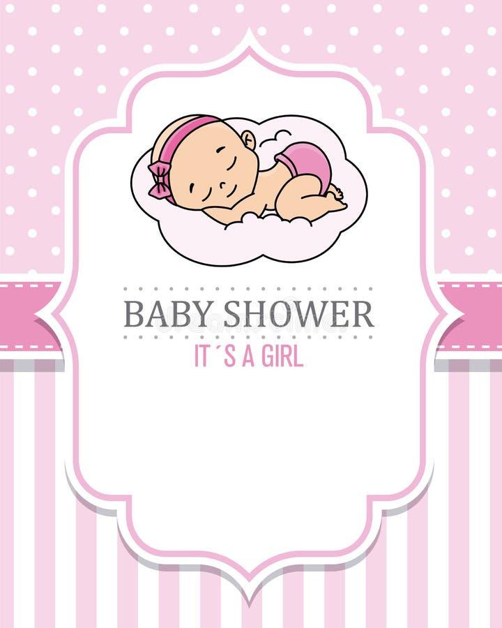 De slaap van het babymeisje op de wolk stock illustratie