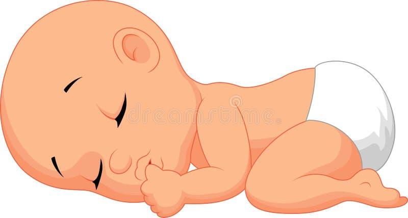 De slaap zuigende vinger van het babybeeldverhaal stock illustratie