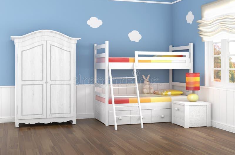 De slaapkamer van blauwe kinderen stock illustratie afbeelding 18227081 - Kleur kinderen slaapkamer ...