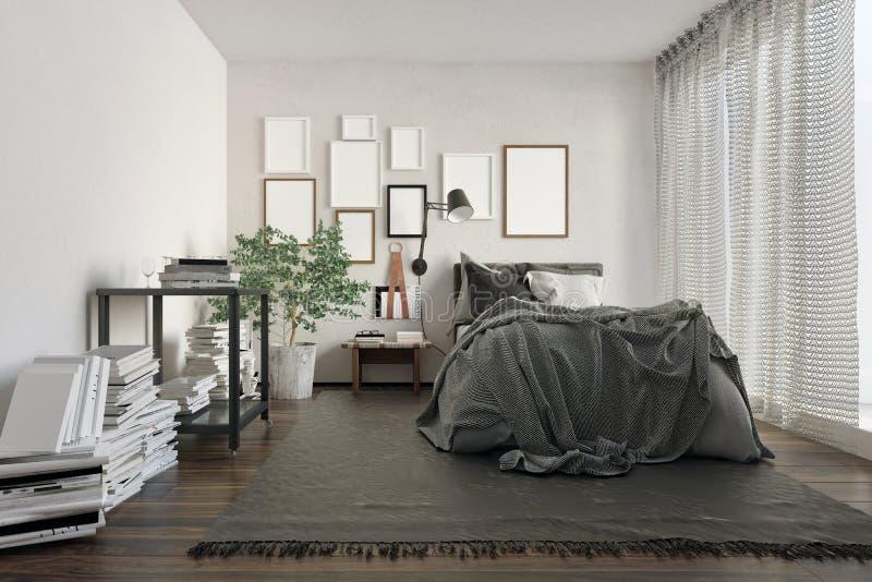 De slaapkamer van de luxezolder met boeken door muur wordt volgestopt die vector illustratie
