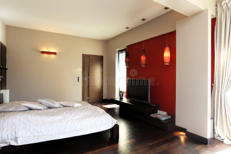 De slaapkamer van de rode koning stock afbeeldingen