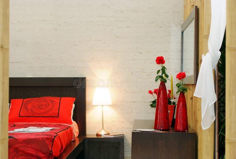 De slaapkamer van het bamboe stock foto