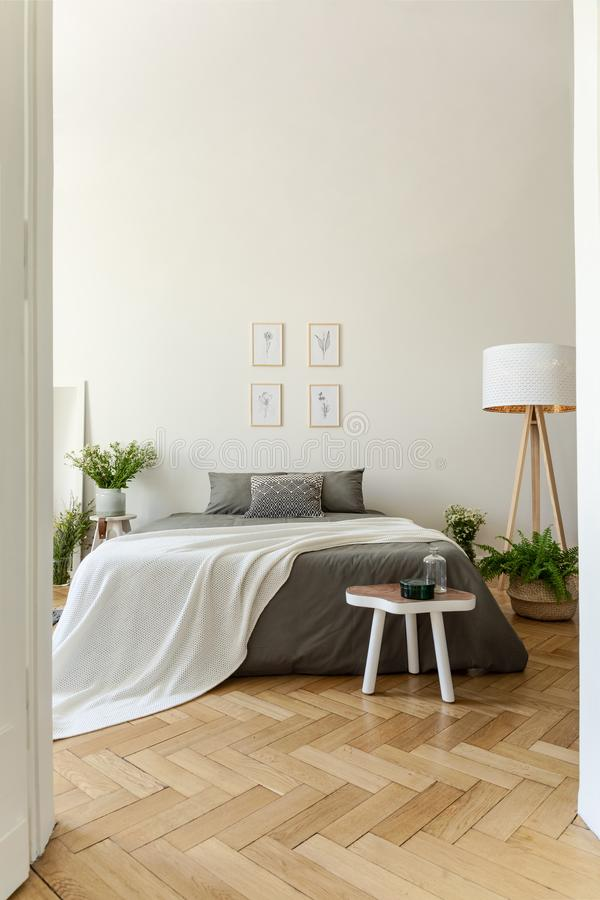 De slaapkamerbinnenland van de Ecostijl met een bed gekleed in grafietlinnen en vanilledeken Visgraat houten vloer en hoge plafon stock afbeeldingen