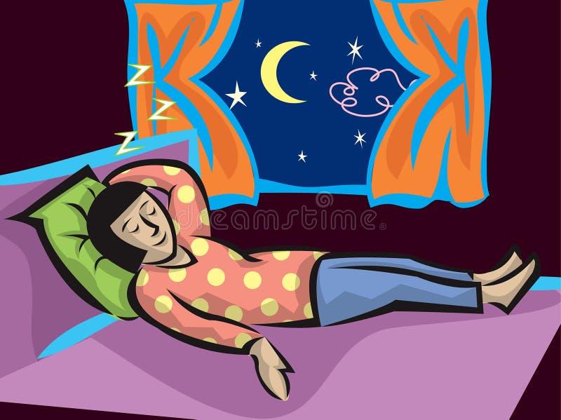 De slaapmeisje van het beeldverhaal royalty-vrije illustratie
