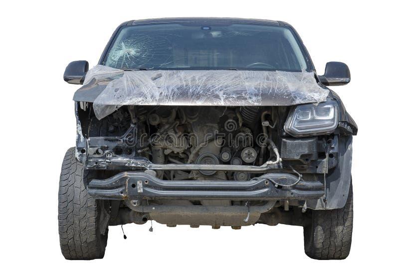 De slachtoffers van de autoneerstorting, de voorauto van de autoneerstorting verpletterden in en slecht gebroken, een gebroken wi stock foto's