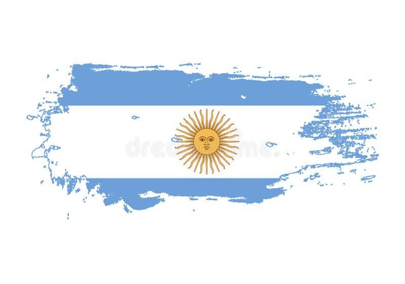 De slag van de Grungeborstel met de nationale vlag van Argentinië Waterverf het schilderen vlag Symbool, affiche, banner van de n vector illustratie