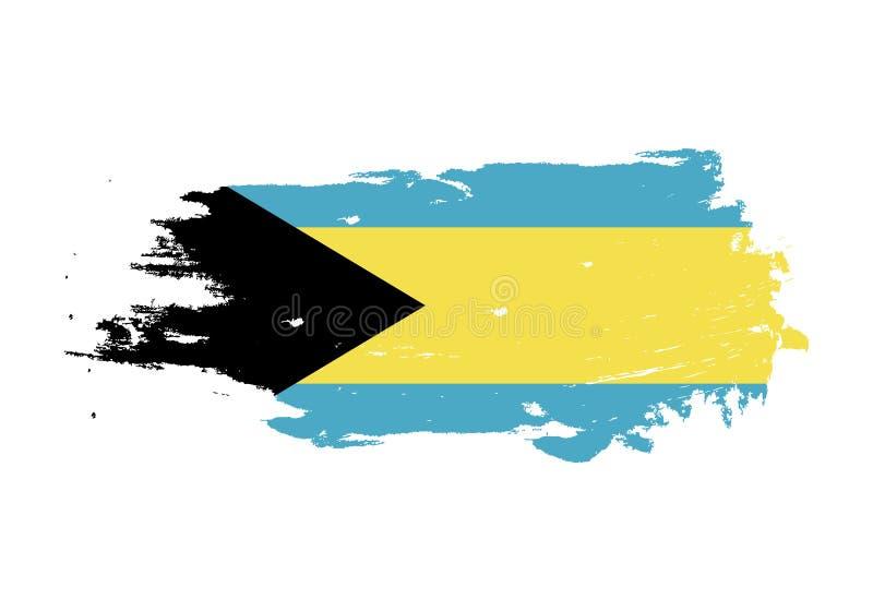 De slag van de Grungeborstel met de nationale vlag van de Bahamas Waterverf het schilderen vlag Symbool, affiche, banner van de n vector illustratie