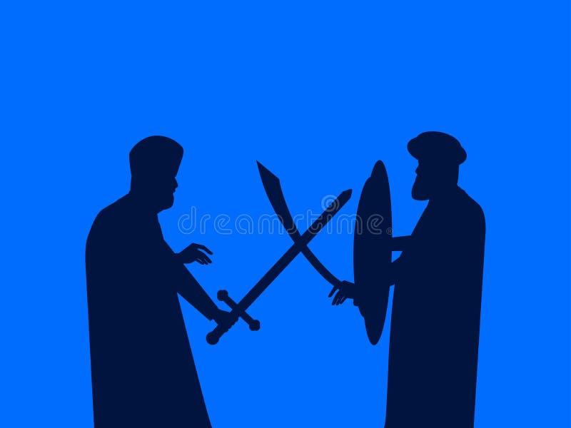 De slag van zwaarden Silhouet van twee mensen die op zwaarden slaan Middeleeuws duel Vector royalty-vrije illustratie