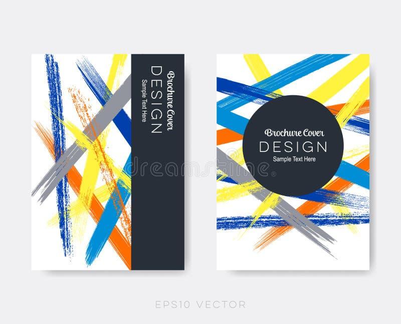 De slagen van de het ontwerp grunge borstel van de brochuredekking royalty-vrije illustratie