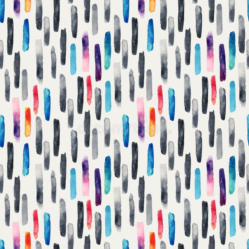 De slagenachtergrond van de waterverf lange borstel in zwart-wit en heldere kleuren stock illustratie