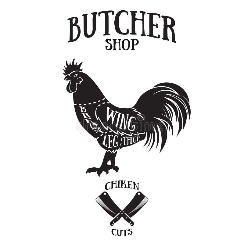 De slager snijdt regeling van kip royalty-vrije illustratie