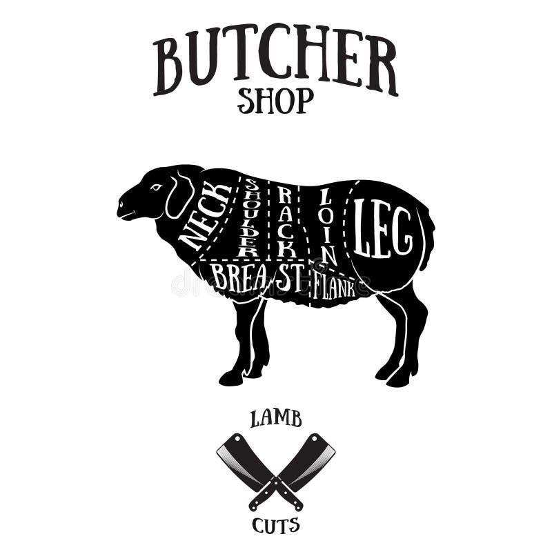 De slager snijdt regeling van lam of schaap vector illustratie