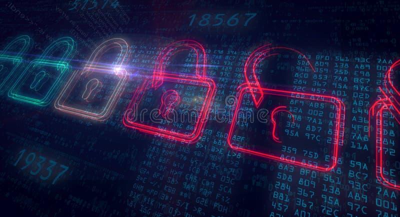 De slaghangsloten van de Cyberveiligheid royalty-vrije illustratie