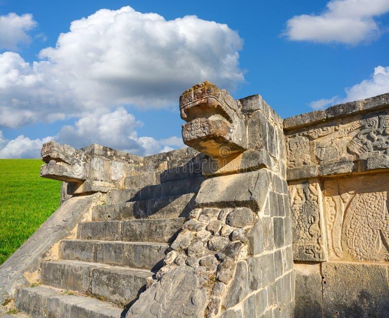 De slang hoofdyucatan Mexico van Chichenitza stock afbeeldingen