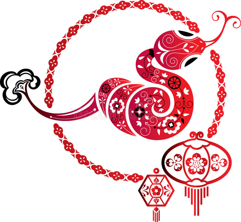 De Slang van het fortuin en Chinees lantaarn grafisch element royalty-vrije illustratie