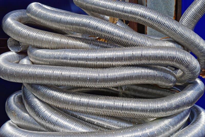 De slangen van de aluminiumventilatie stock foto