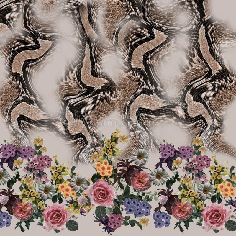 De slangpatroon van de bloem naadloos mengeling royalty-vrije stock foto