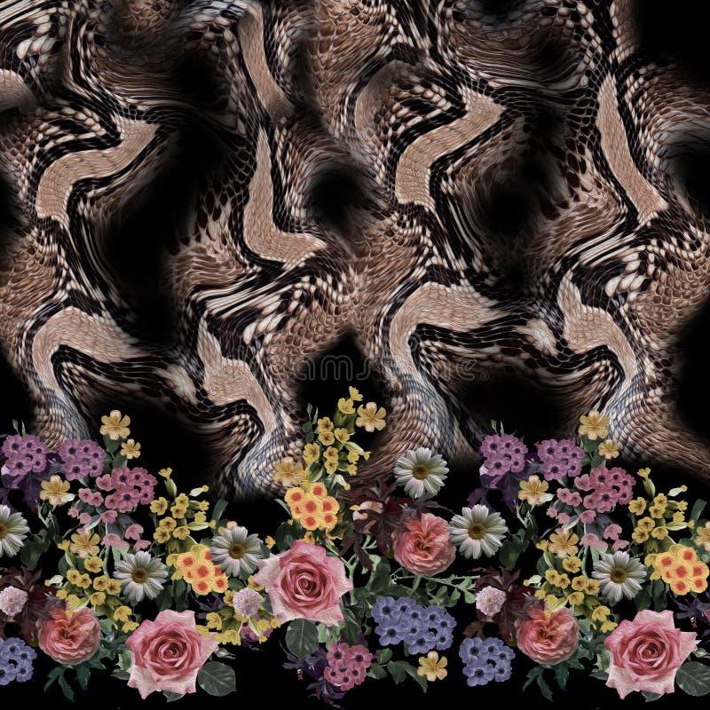 De slangpatroon van de bloem naadloos mengeling royalty-vrije stock fotografie