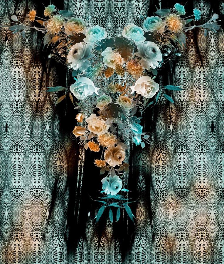 De slangpatroon van de bloem naadloos mengeling royalty-vrije stock afbeelding