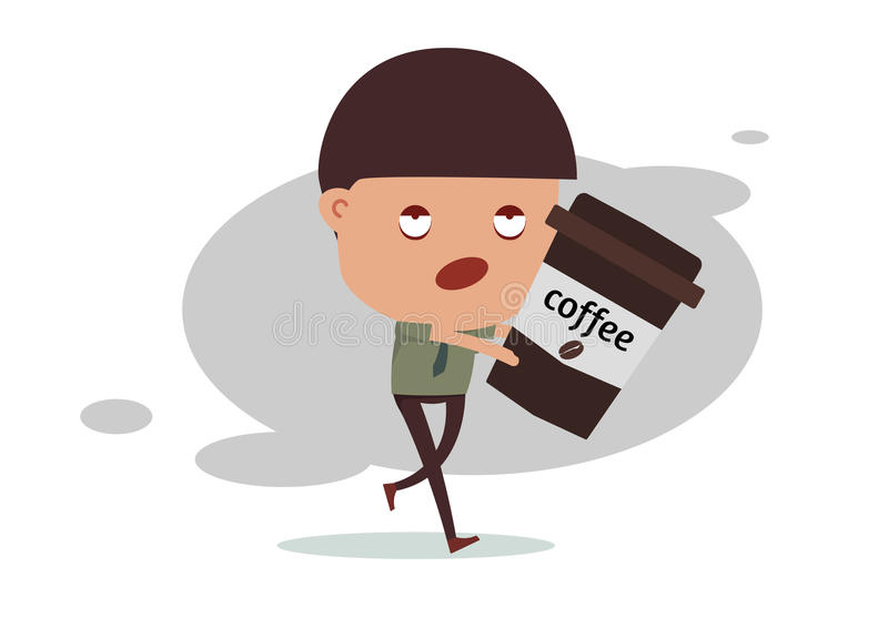 De slapeloze koffie van de bedrijfsmensenbehoefte royalty-vrije stock afbeeldingen