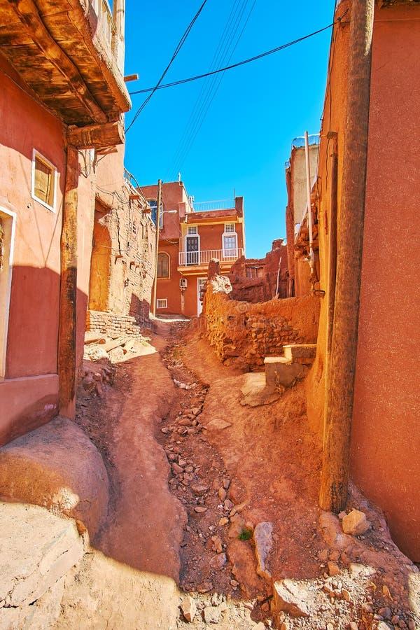 De slechte aarden weg, Abyaneh stock fotografie