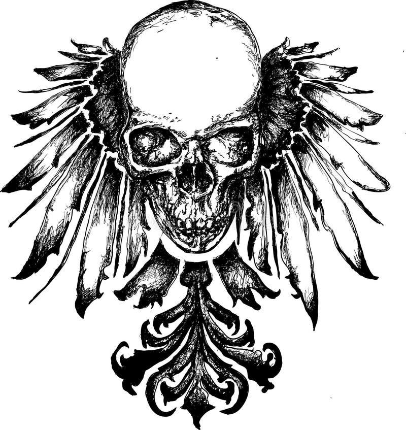 De slechte illustratie van de schedelwapenkunde stock illustratie