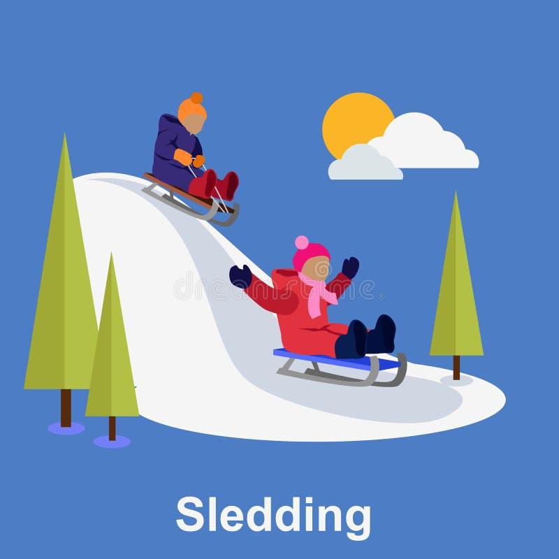 De Sleddingskinderen ontwerpen vlakke stijl vector illustratie