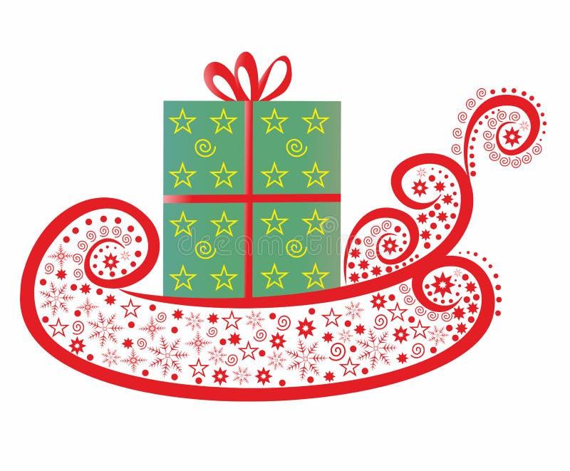 De slee van de kerstman met Gift royalty-vrije illustratie